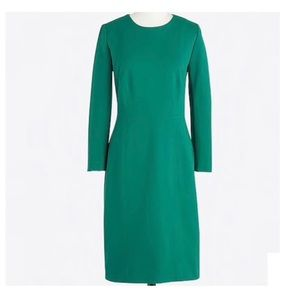 J. Crew Zip 3/4 sleeve Ponte Dress Green Deep Jade